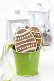 Easter gingerbread cookies in green bucket Stock Photo