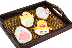 Easter gingerbread cookies with icing Stock Photo