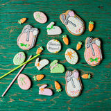Easter gingerbread cookies in the shape of hares and carrots Royalty Free Stock Image
