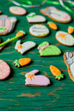 Easter gingerbread cookies in the shape of hares and carrots Stock Images