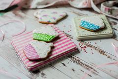 Easter gingerbread cookies on wooden background Royalty Free Stock Photo