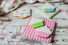 Easter gingerbread cookies on wooden background Royalty Free Stock Photos