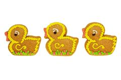 Easter Gingerbread Ducks Isolated on White. Background royalty free stock images