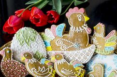 Easter gingerbread. Hand decorated Easter with gingerbread royalty free stock photos