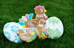 Easter gingerbread. Hand decorated Easter gingerbread on the grass stock image