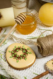 Easter gingerbread in suger petals, honey, spring holiday food photography Stock Photography