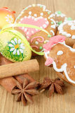 Easter gingerbreads and painted egg Stock Images