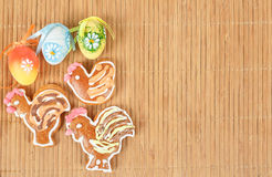 Easter gingerbreads and painted egg Stock Photo