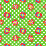 Easter gingham cloth with painted eggs, seamless pattern included Royalty Free Stock Image