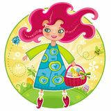 Easter girl. Holiday Easter Theme: Pretty girl walking in the beautiful garden, carrying traditional basket with Easter eggs and a bow. you ca also find Flowers Stock Image