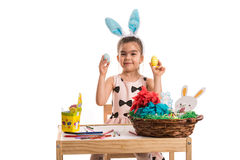 Easter girl showing eggs Royalty Free Stock Image