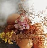 Easter girl sitting on eggs Stock Images