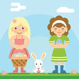 Easter girls with bunny basket egg icon sky background template flat design vector illustration Stock Photography