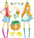 Easter girls - vector set Royalty Free Stock Photo