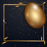 Easter gold eggs with confetti gold and black collors place for. Text abstract background. illustration Royalty Free Stock Photography
