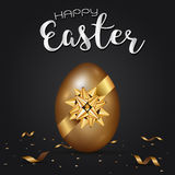Easter gold eggs with golden gift bow and confetti gold. Illustration Stock Images