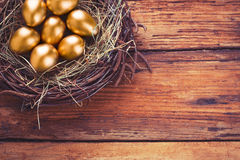 Easter gold eggs Royalty Free Stock Photography