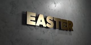 Easter - Gold sign mounted on glossy marble wall  - 3D rendered royalty free stock illustration Stock Images
