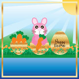 Easter gold stain egg frame space card. This illustration is gold stain eggs with Easter bunny and carrot design in template space and frame invitation card with Stock Photography
