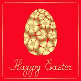 Easter golden egg of flowers and a congratulatory text . Vector isolated illustration. stock illustration