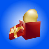 Easter golden egg and gift box Royalty Free Stock Images