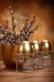 Easter golden eggs Stock Photo
