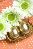 Easter golden eggs Stock Image