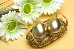 Easter golden eggs Royalty Free Stock Photos