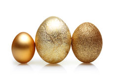 Easter golden eggs isolated Stock Photo