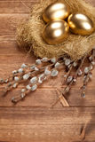 Easter golden eggs in the nest Stock Images