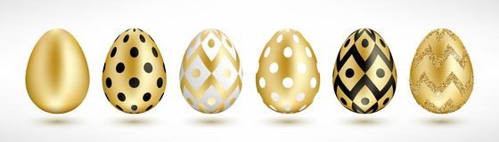 Easter golden eggs set stock illustration