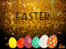Easter golden tiles background with eggs Stock Photography