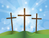 Easter Good Friday Crosses on Blue Sky Background. Happy Easter Day Good Friday Cross on Sun Rays on Sky Blue Bokeh Circles and Blurred Background Illustration Royalty Free Stock Images