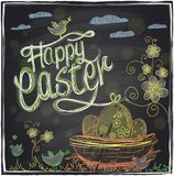 Easter graphic on a chalkboard. Stock Image