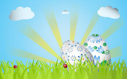 Easter grass ang two eggs Royalty Free Stock Photo