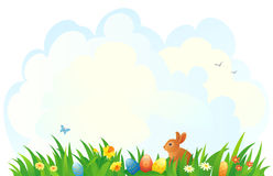 Easter grass background. Illustration of an Easter scene Stock Photography