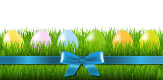 Easter Grass Border With Eggs Royalty Free Stock Photography