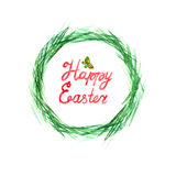 Easter grass wreath. Circle border. Watercolor on white background. Royalty Free Stock Photos