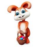 Easter gray bunny with eggs bucket Stock Photo