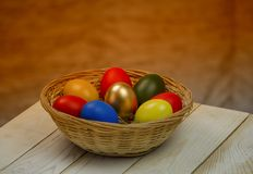 Easter is a great Christian holiday. No one believed, but Christ resurrected and the eggs were painted in various colors Stock Images
