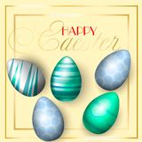 Easter greating cards, realistic Easter eggs on a bright background with blue peas, elements of gold. Caption: 30 sale. Vector illustration Stock Photo