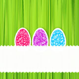 Easter green background with ornament eggs Royalty Free Stock Photos
