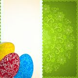 Easter green background with ornament eggs Royalty Free Stock Image