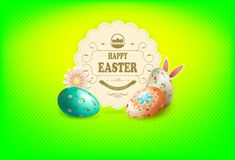 Easter green composition with a round frame, patterned eggs and bunny ears, royalty free illustration