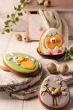 Easter green cookies with painted easter bunny, easter eggs and hatched chicken near quail eggs, decorative buffet and napkin stock images