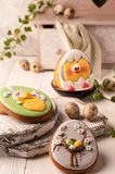 Easter green cookies with painted easter bunny and hatched chicken near quail eggs, decorative buffet and napkin stock image