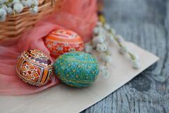 Easter, green egg closely - Easter`s traditional symbol. Easter, green egg closely - ornate, traditional Easter`s symbol Royalty Free Stock Photos