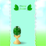 Easter green egg on a stand. Vertical banner with torn edges on the background of greenery and sky. Stock Photography