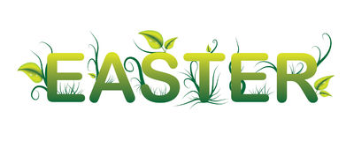 Easter Green Logo with Grass and Leaves Stock Photos