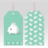 Easter green tags. Tags with white funny rabbit and spring flowers Royalty Free Stock Images
